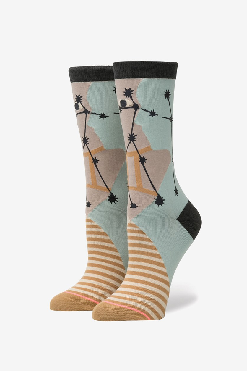 Women's Gemini Zodiac Socks, Biege/Light Blue Combo