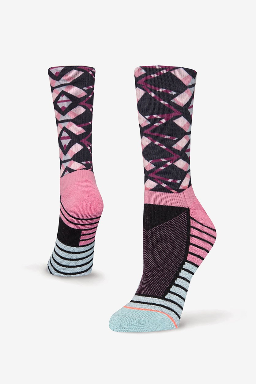 Women's Axis Crew Socks, Purple/Black Combo