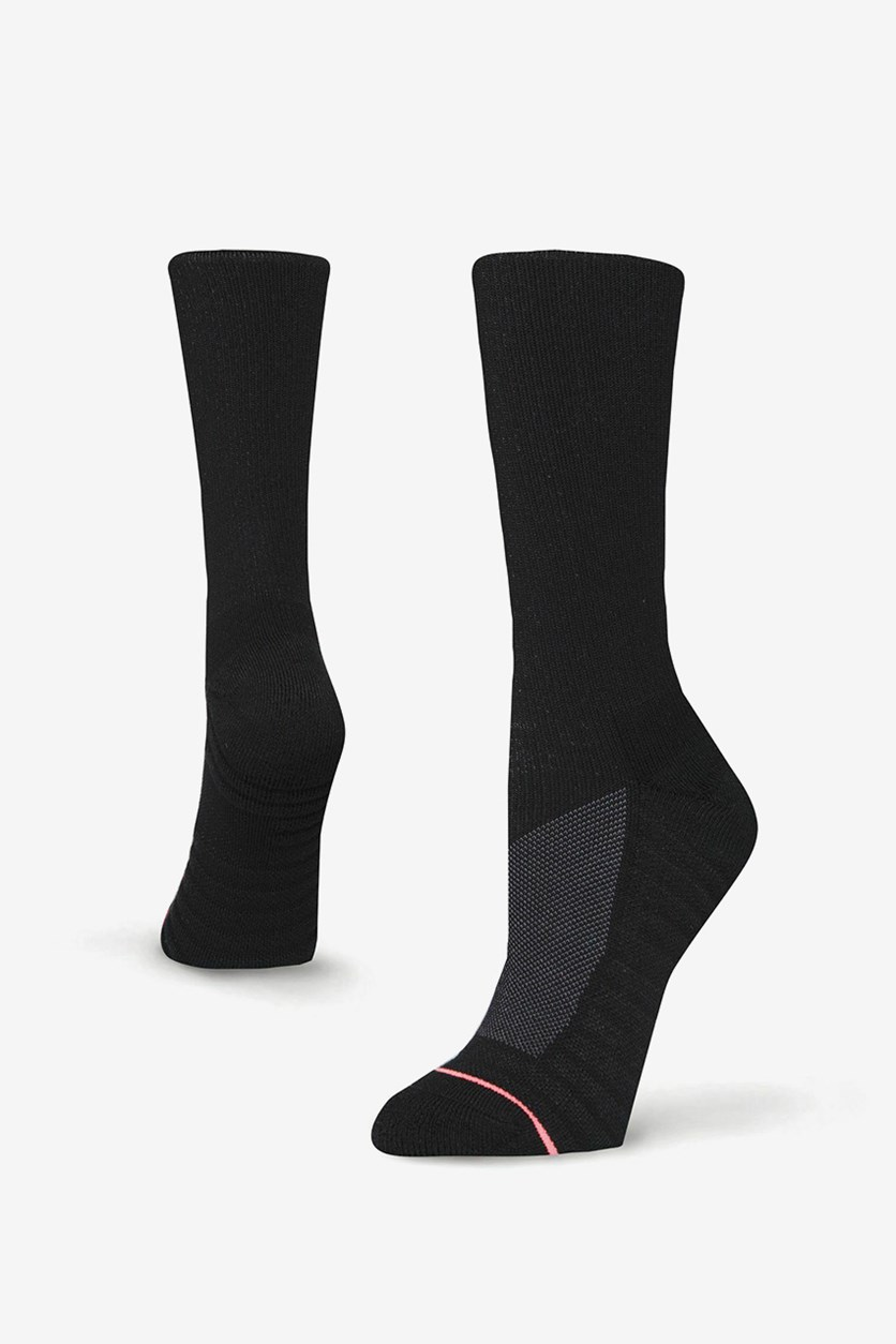 Women's Athletic Performance Poly Blend Crew Height Socks, Black