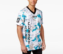 Black Pyramid Men's Camouflage Embroidered Baseball Jersey, White Combo