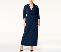 NY Collection Plus Size Faux-Wrap Maxi Dress, Navy