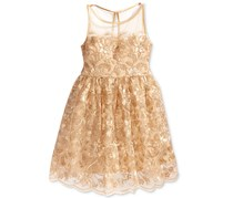 Crystal Doll Women's Glitter Floral-Lace Dress, Gold