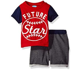 Bon Bebe Baby Boy's 2 Piece Top with French Terry Shorts, Red/Grey