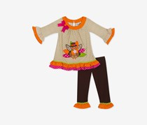 Rare Editions Little Girls 2-Pc. Turkey Tuni, Dark Brown