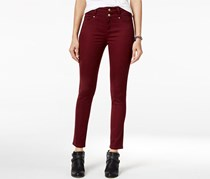 Tinseltown Women's 2-Button High-Waist Colored Skinny Pant, Maroon