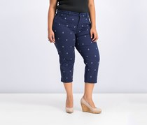 Charter Club Plus Size Anchor-Embroidered Pants, Intrepid Blue