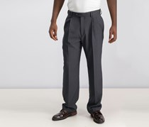 Haggar Men's Pleated Dress Pant, Medium Grey