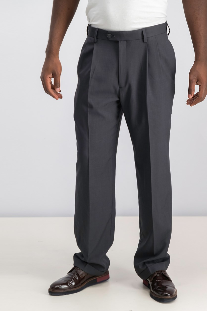 Men's Pleated Dress Pant, Medium Grey