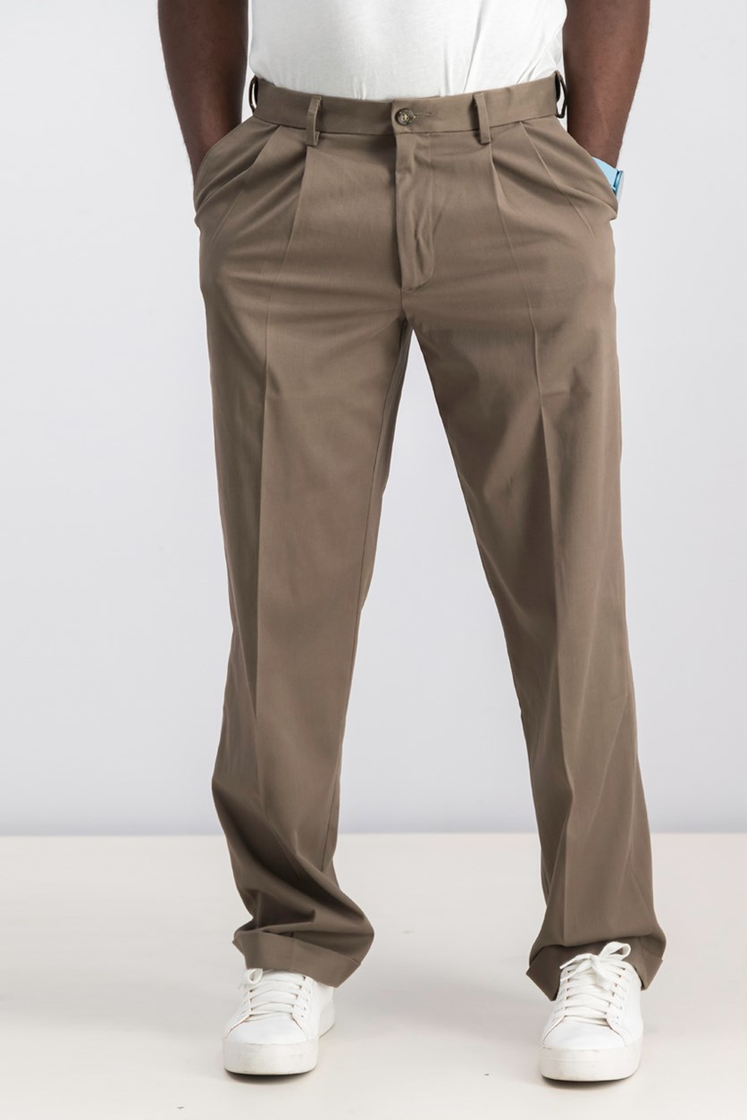 Relaxed Fit Comfort Khaki Pleated Pants, Dark Pebble
