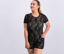 Women Short-Sleeve Lace Romper, Rich Black