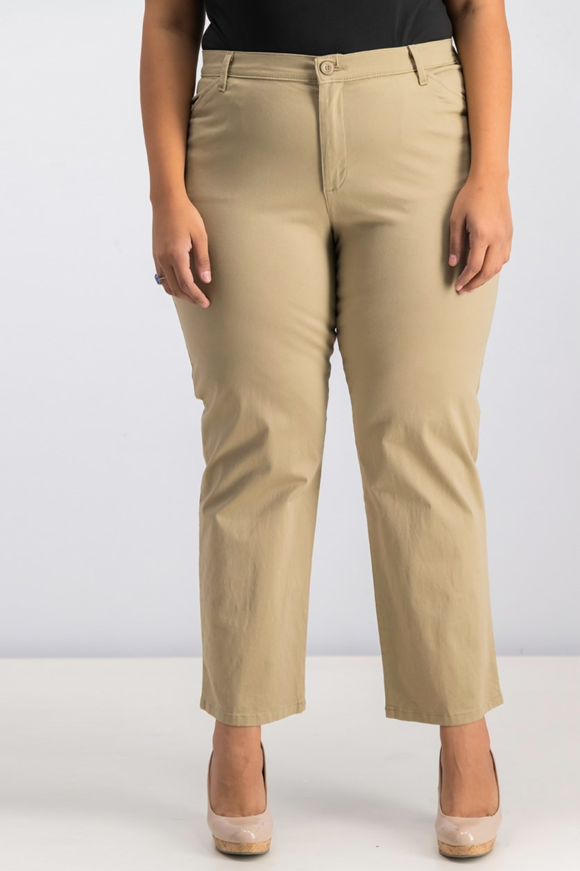 Stretch Twill Straight-Leg Pants, Flax