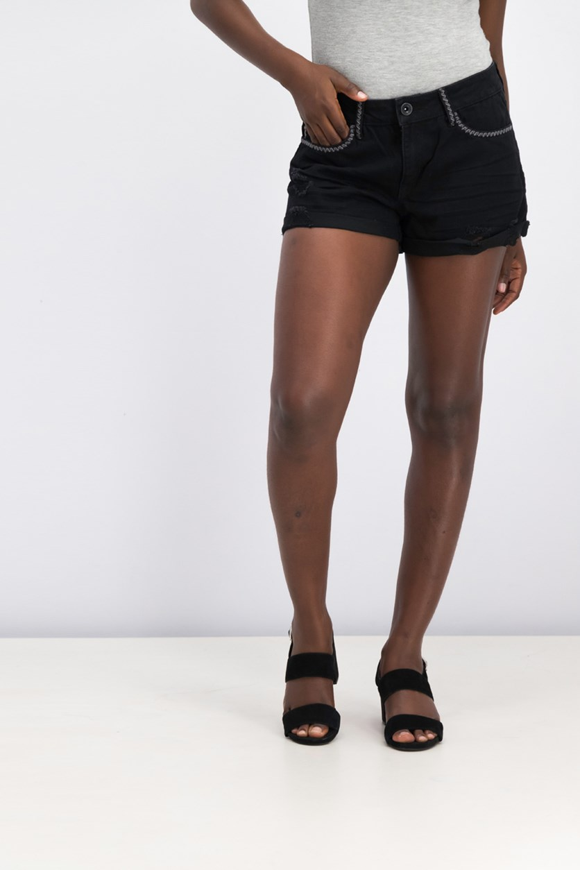 Juniors Tacked-Hem Embroidered Denim Short, Black