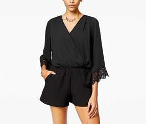 Bcx Women's Crochet-Trim Bell-Sleeve Romper, Black