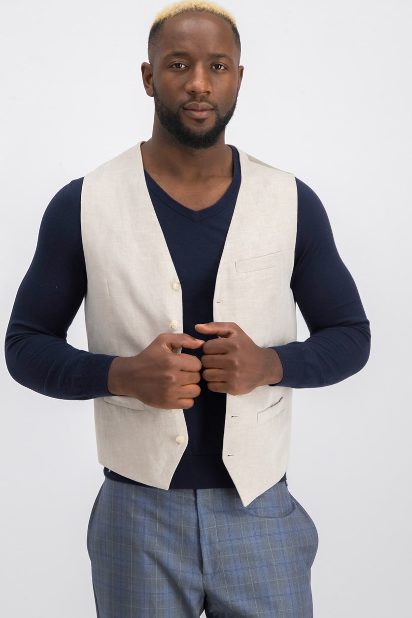 Linen Solid Vest, Natural