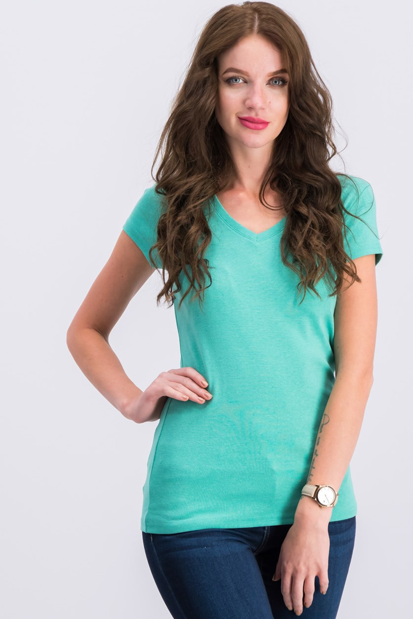Women's Cotton V-neck Tee Shirt, Mint Green
