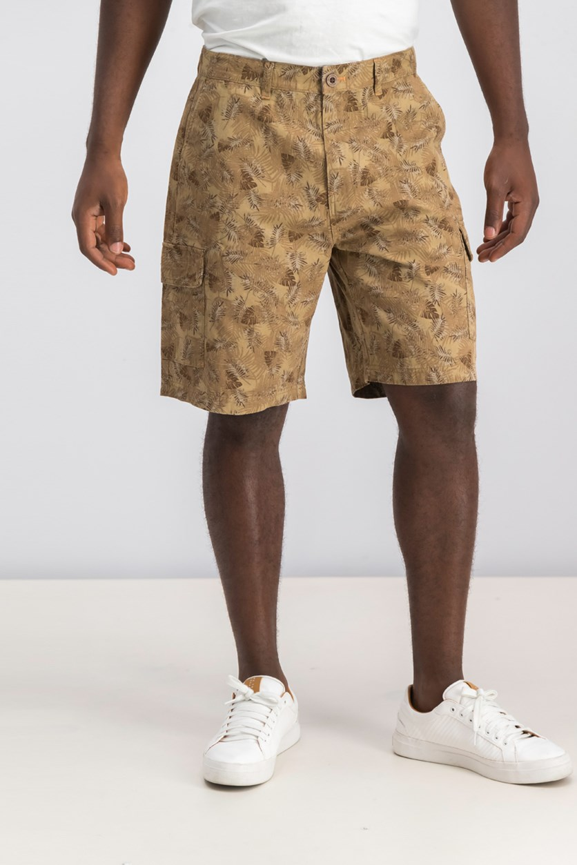 Mens Printed Cargo Shorts, Brown