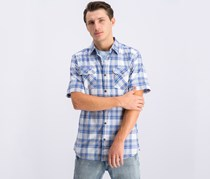 Weatherproof Vintage Mens Madras Plaid Pocket Shirt, White/Blue