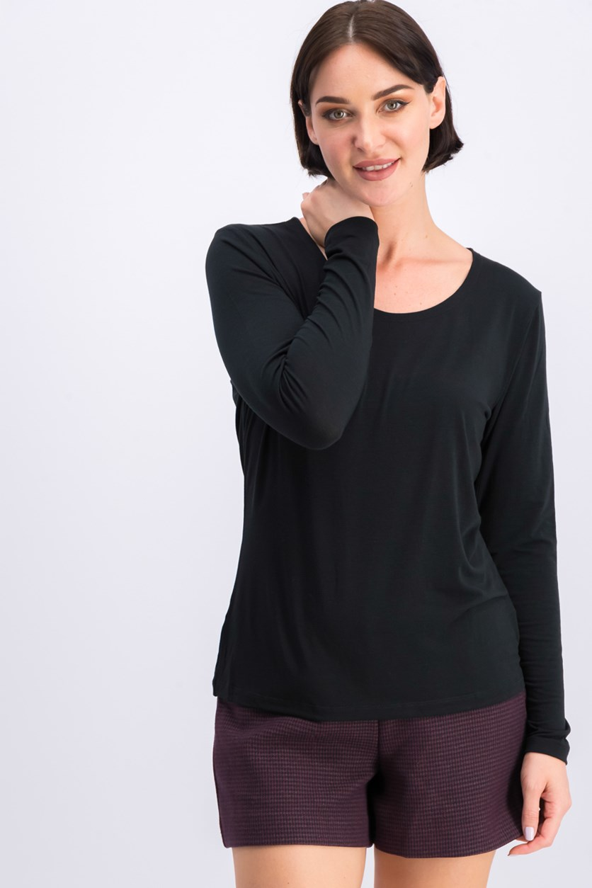 Women's Plain Tops, Black