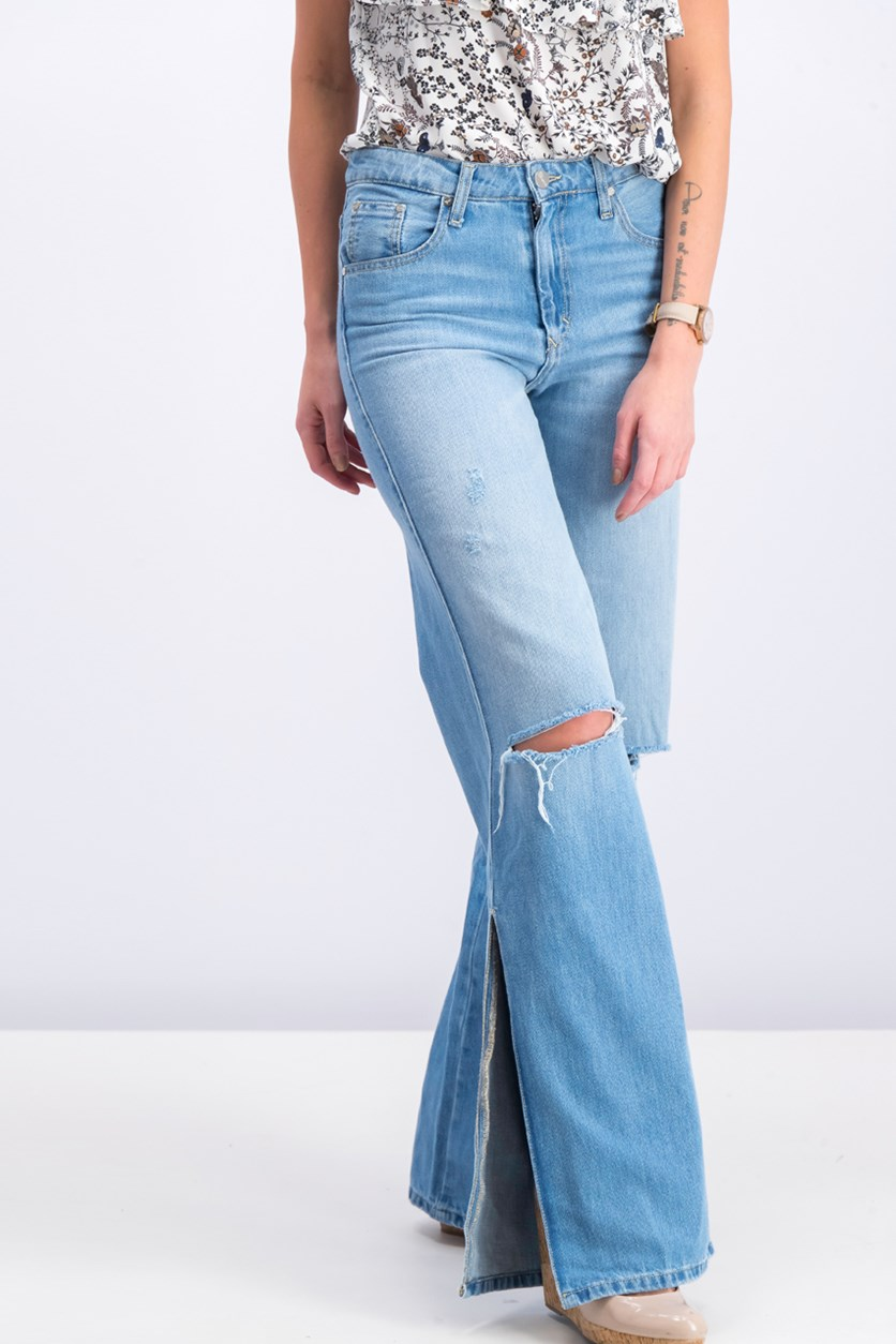 Women's Wide Leg Jeans, Wash Blue