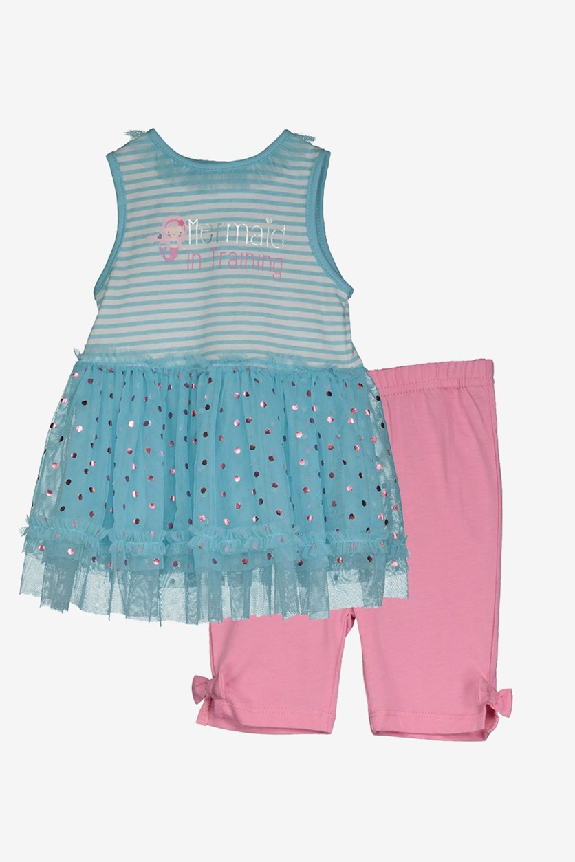 Toddler Girl's Stripe 2 Set, Blue/White