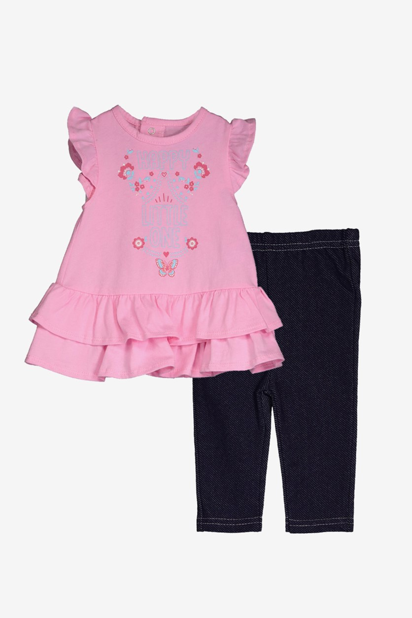 Toddlers Happy Little One Top & Pants, Pink/Denim