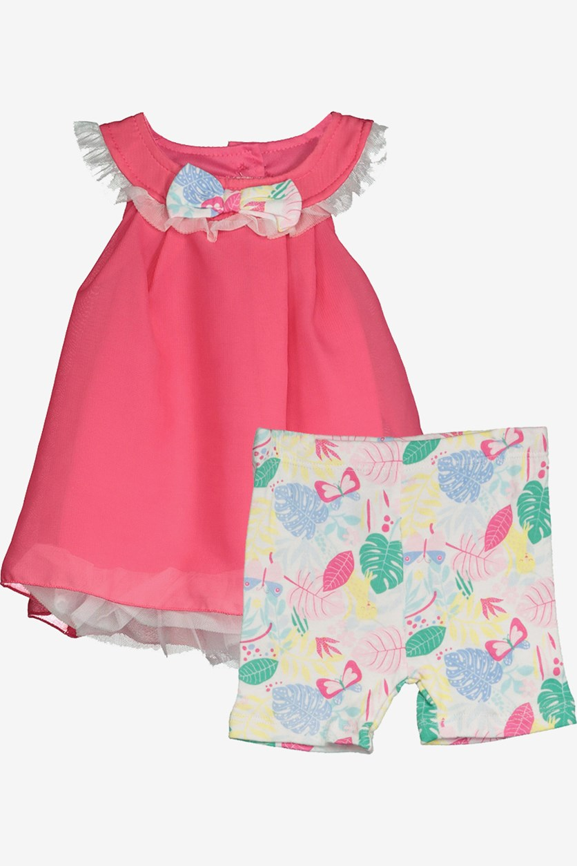 Toddler Girl's Top And Short, Pink/White Combo