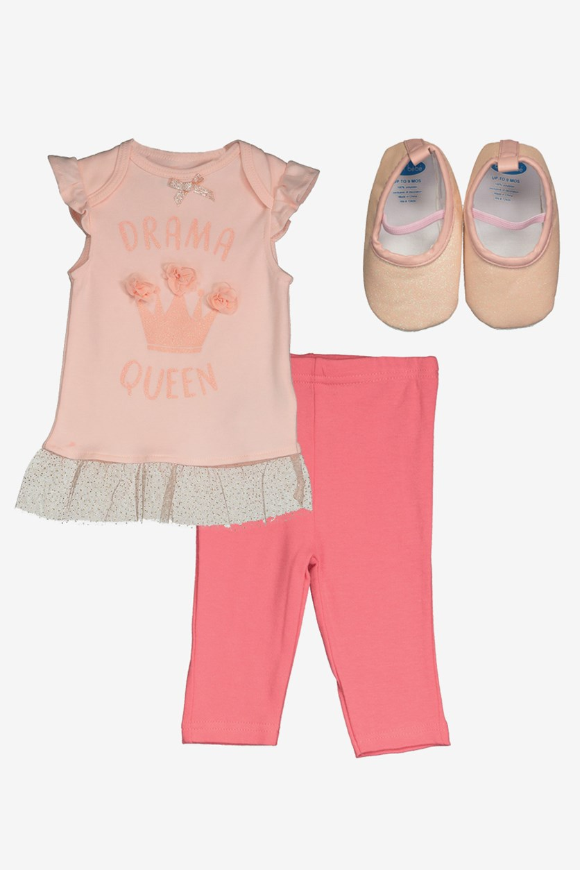 Toddler Girl's 3 Set Shirt & Leggings, Peach/Pink