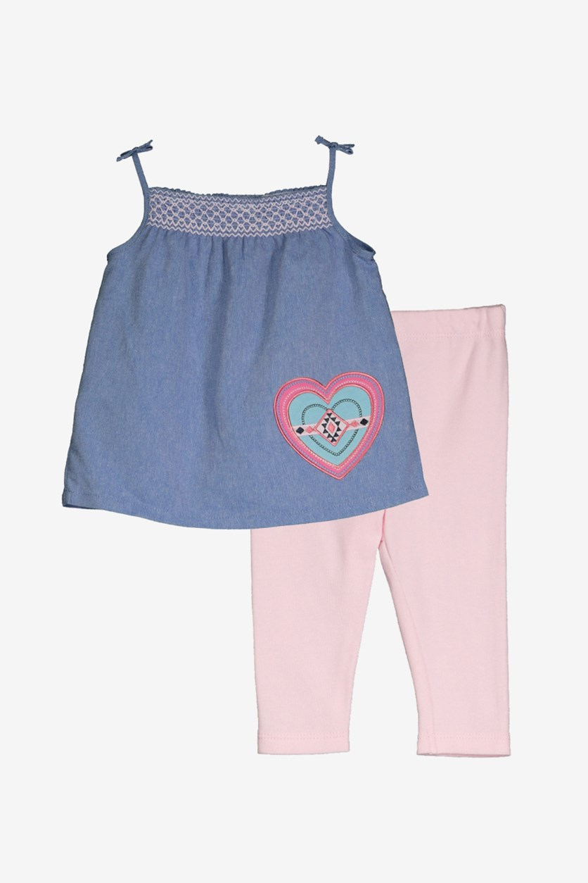 Toddlers 2 Pcs Top Pant Set, Chambray/Pink