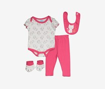 Bon Bebe Toddler Girl's Cat Print 4 Set, Pink