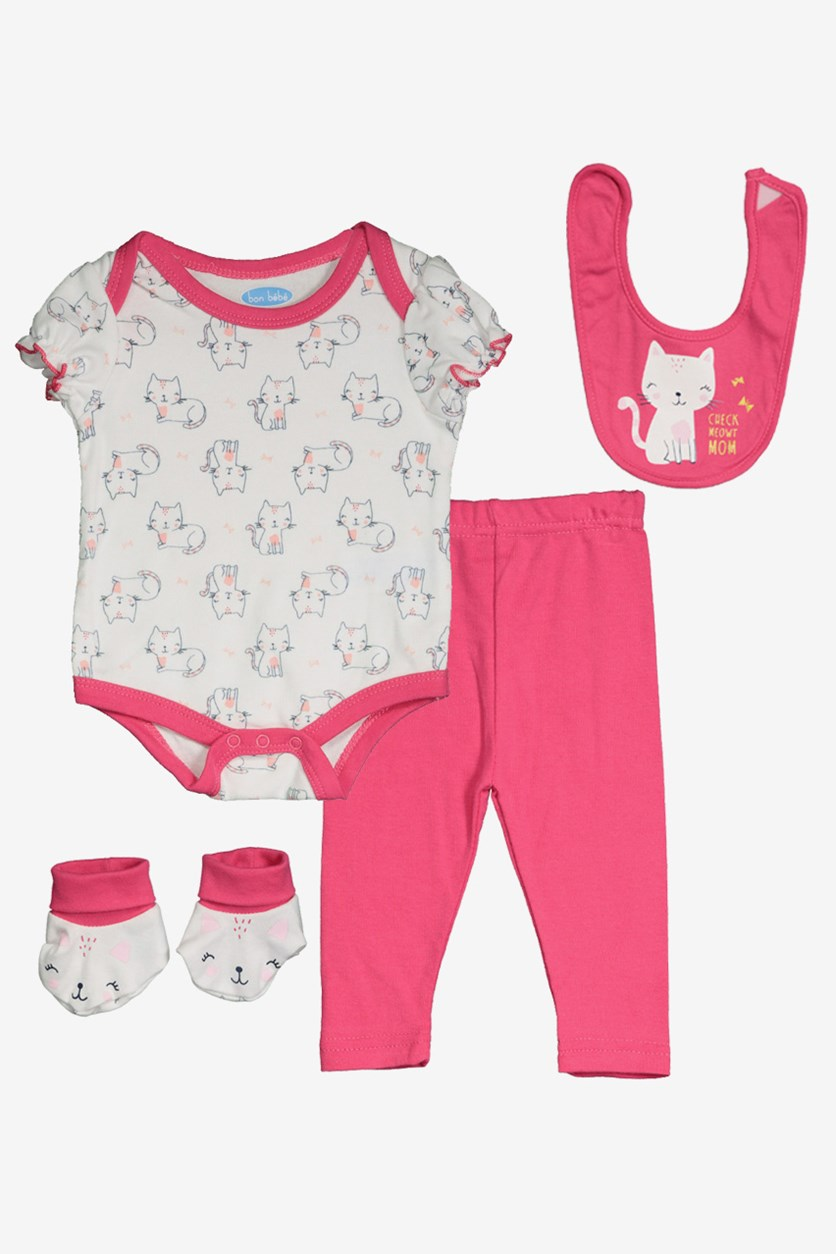 Toddler Girl's Cat Print 4 Set, Pink