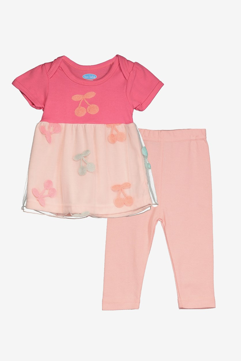 Toddlers Embroidery Pants Top Set, Pink/Blush