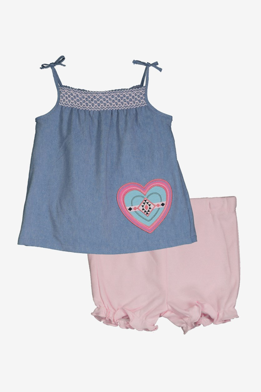 Toddlers  2 Pcs Short and Top, Chambray/Pink