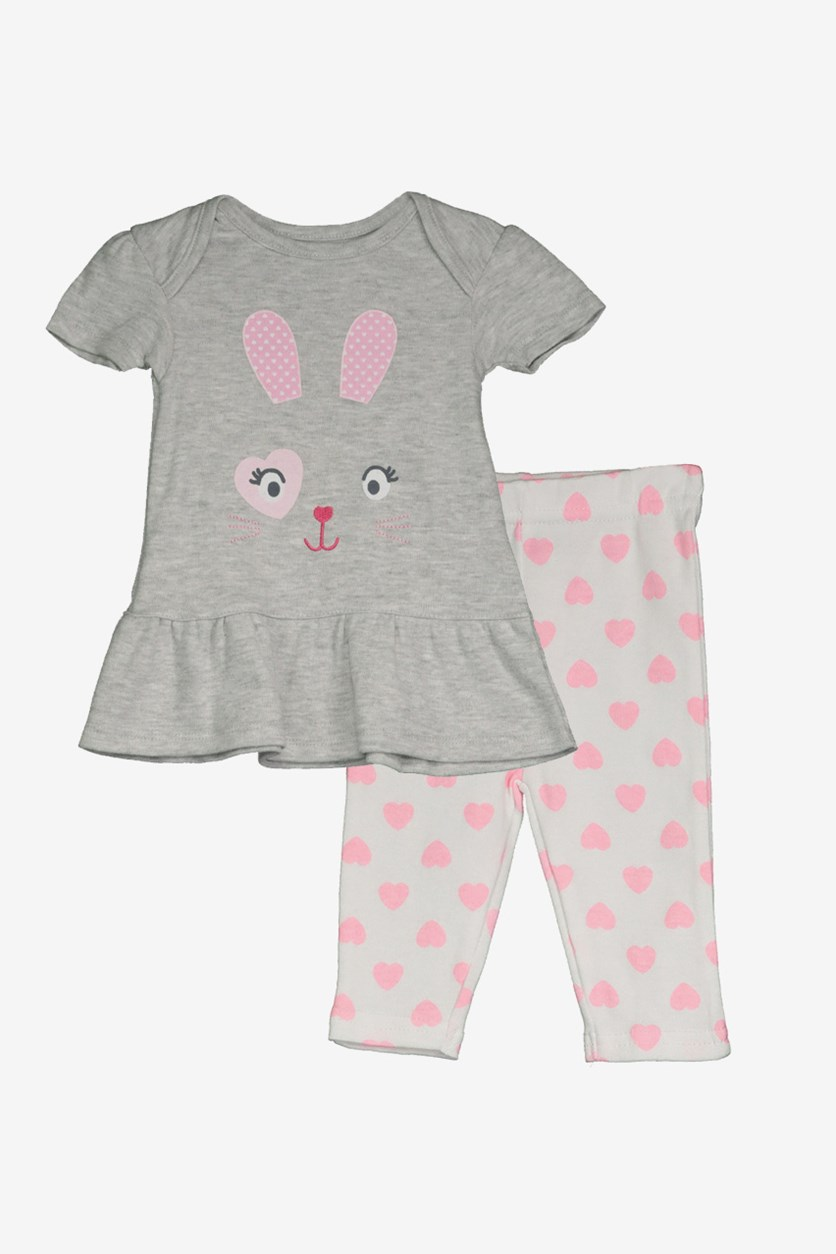 Baby Girl's Animal Face Dress & Leggings Set, Grey/White