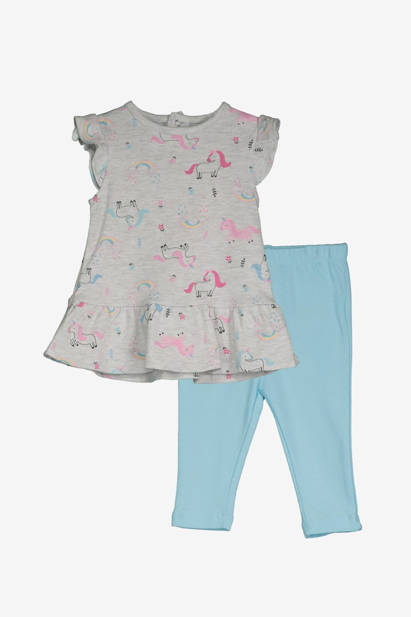 Toddler Girl's Printed Horse Ruffle Dress & Leggings, Grey/Light Blue