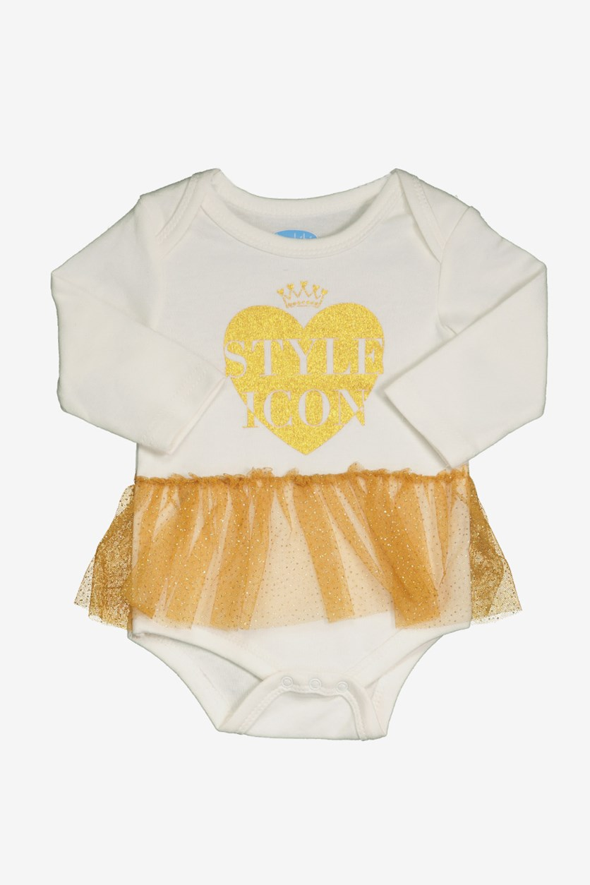 Toddler Girl's Style Icon Print Bodysuit, White/Gold