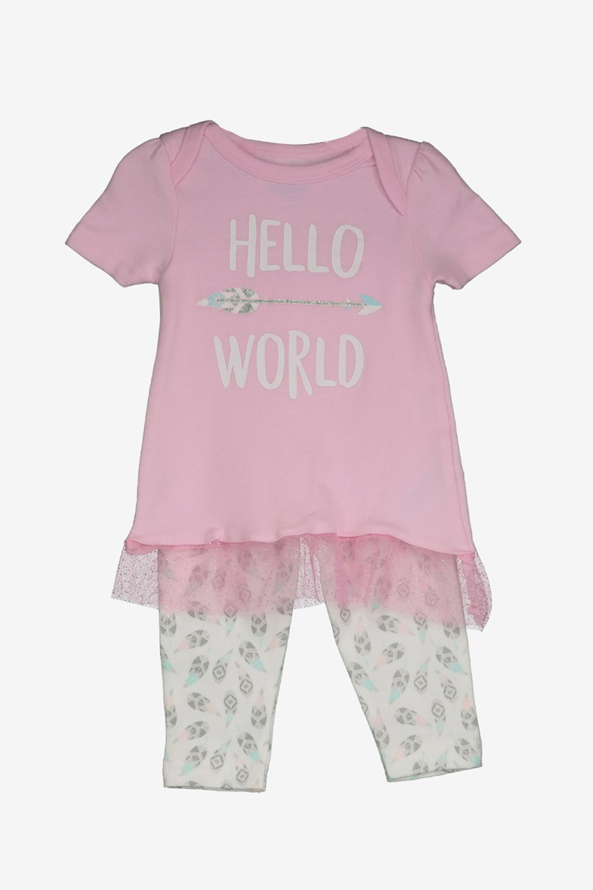 Baby Girl Hello World Tunic & Legging Set, Pink/White Combo