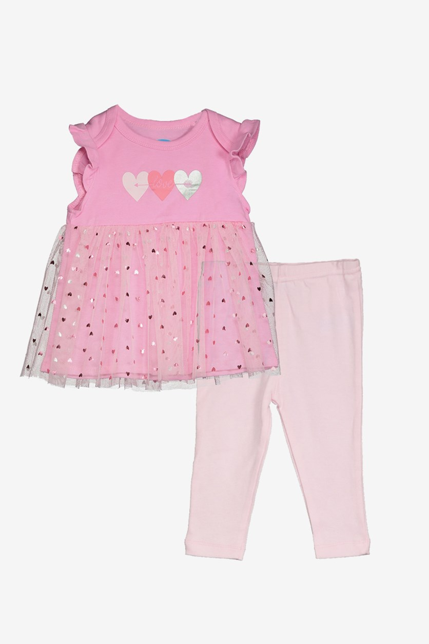 Toddler Girl's Tulle Dress & Leggings, Pink