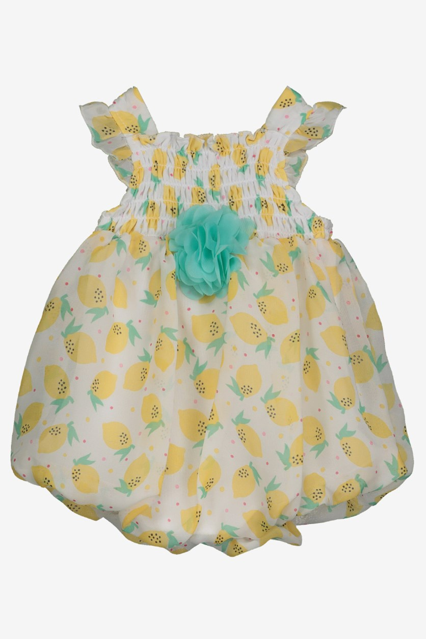 Baby Girl's Printed Dress, Yellow/White