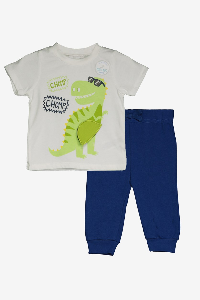 Toddlers T-Shirt & Pants Set, White/Blue