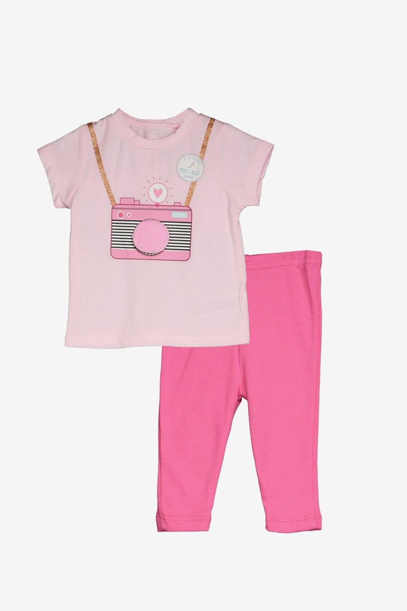 Toddler Girl's Graphic Shirt & Leggings, Pink