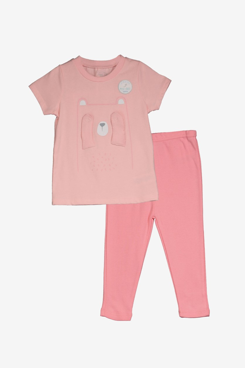 Toddler Girl's Short Sleeve & Leggings, Peach