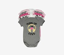 Bon Bebe Toddlers Turn Up The Love Bodysuit, Grey/Pink/White Combo