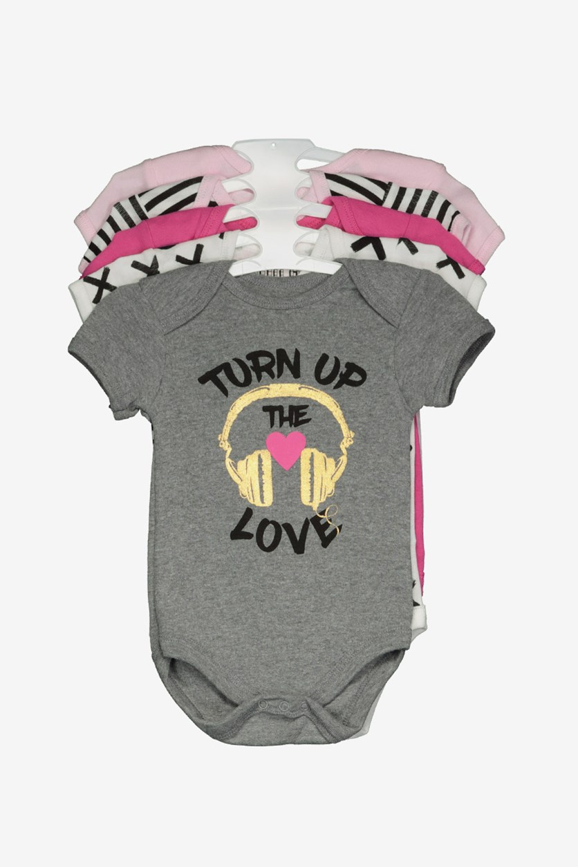 Toddlers Turn Up The Love Bodysuit, Grey/Pink/White Combo