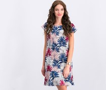 Women's Leaf Print Shift Dress,  Blue/Maroon Combo