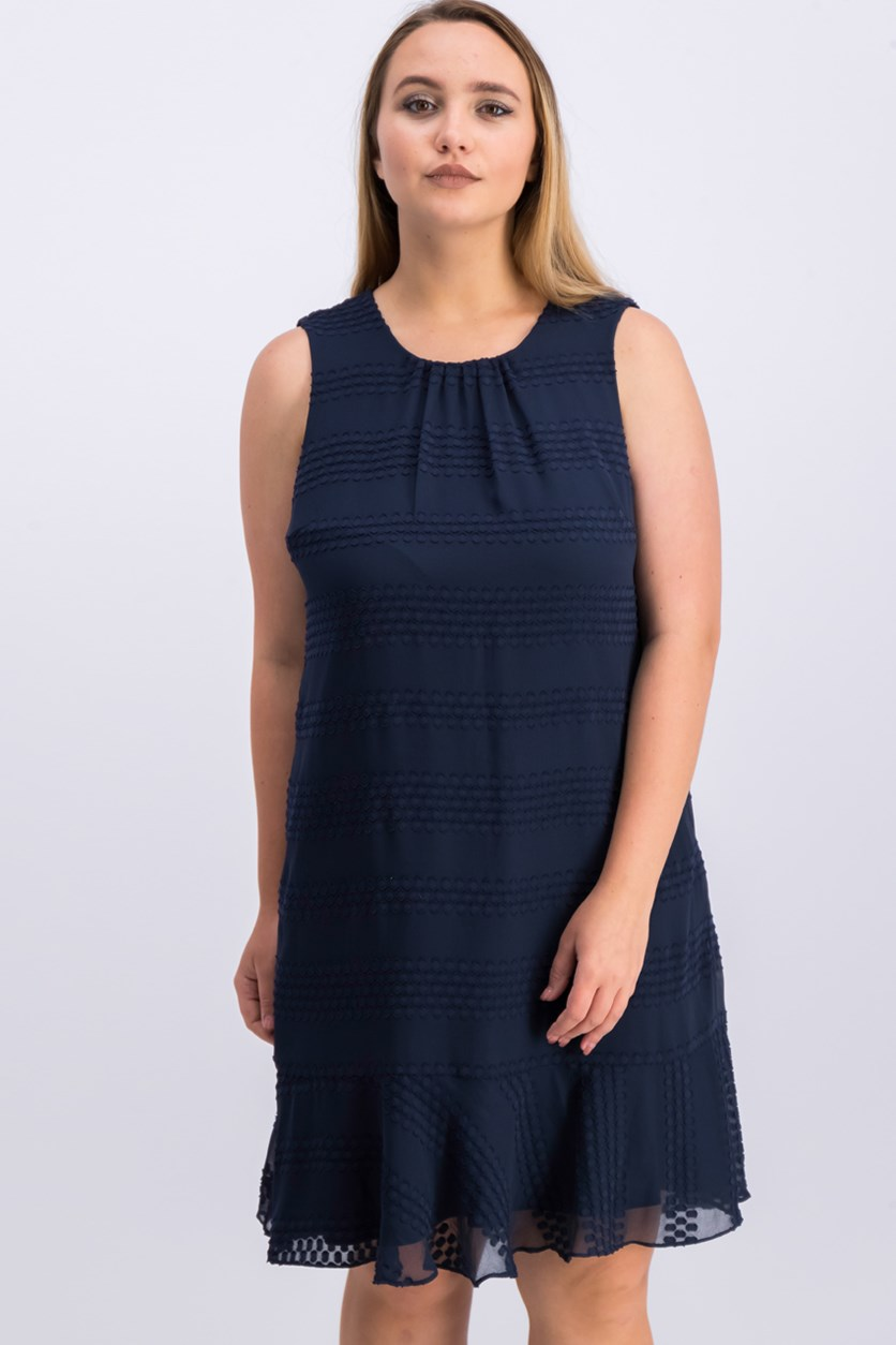 Women Peplum Sleeveless Dress, Navy