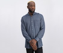 Barbour Mens Scafell Knit Band-Collar Shirt, Navy Combo
