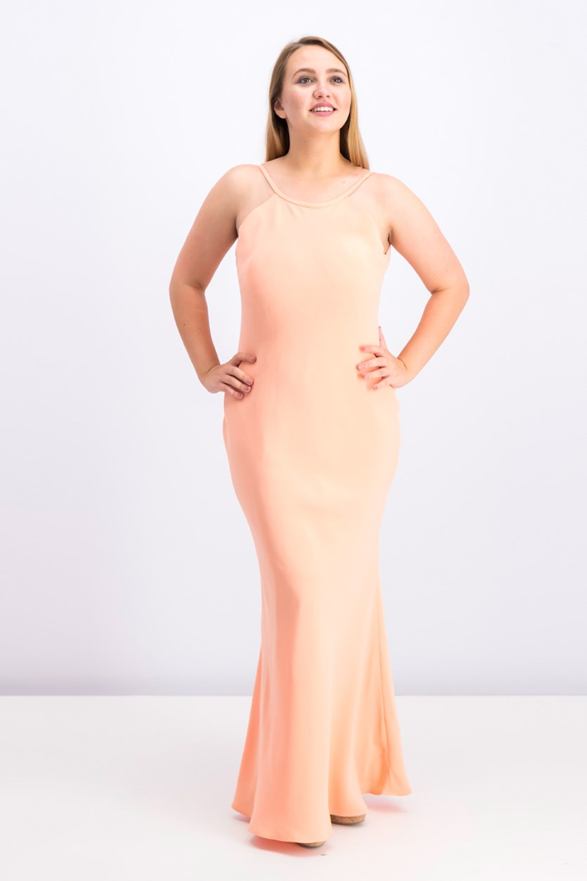 Open-Back Halter Gown, Peach