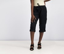 Women's Cropped Poplin Cargo Pants, Black