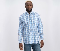 TailorByrd Great Basin Check Classic Fit Button-Down Shirt, Royal