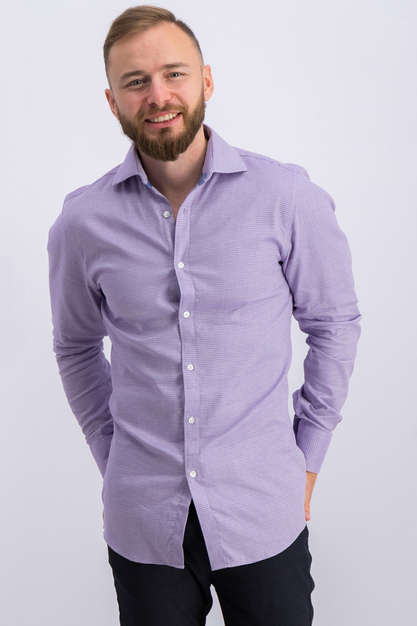 Mens Slim-Fit Comfort Stretch Shirt, Purple Combo